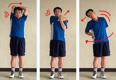 ③肩の上・水平・下方向伸ばし(左右)